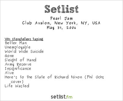 Pearl Jam Setlist Club Avalon, New York, NY, USA 2006