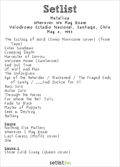 Metallica Setlist Velódromo Estadio Nacional, Santiago, Chile 1993, Wherever We May Roam