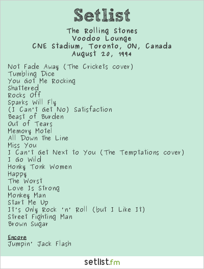 The Rolling Stones Setlist CNE Stadium, Toronto, ON, Canada 1994, Voodoo Lounge
