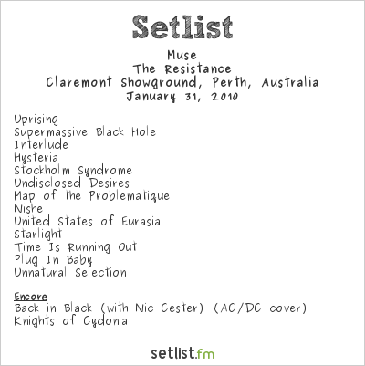Muse Setlist Claremont Showgrounds, Claremont, Australia, Big Day Out 2010