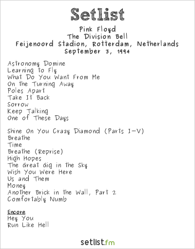 Pink Floyd Setlist Feijenoord Stadion, Rotterdam, Netherlands 1994, The Division Bell