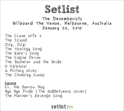 The Decemberists Setlist Billboard The Venue, Melbourne, Australia 2010