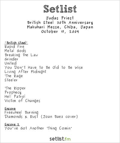 Judas Priest Setlist Loud Park 2009 2009, British Steel 30th Anniversary