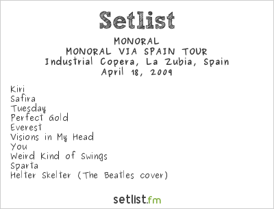 MONORAL Setlist Sala Industrial Copera, Granada, Spain 2009, MONORAL VIA SPAIN TOUR