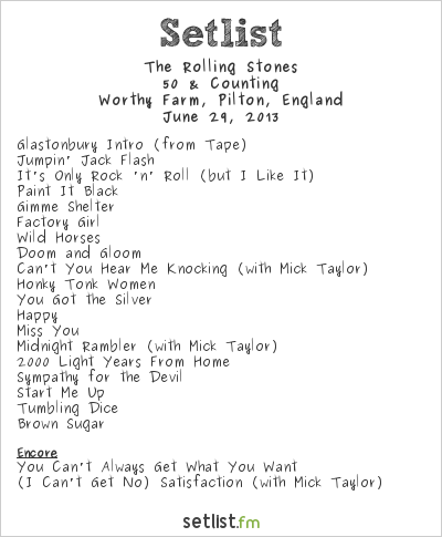 The Rolling Stones Setlist Glastonbury Festival 2013 2013, 50 & Counting
