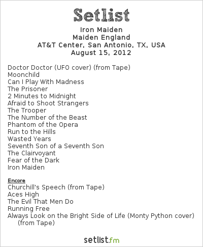 Iron Maiden Setlist AT&T Center, San Antonio, TX, USA, Maiden England - North American Tour 2012