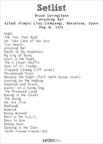 Bruce Springsteen Setlist Estadi Olímpic Lluís Companys, Barcelona, Spain 2012, Wrecking Ball