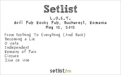 L.O.S.T. Setlist Grill Pub Rocks Pub, Bucharest, Romania 2012