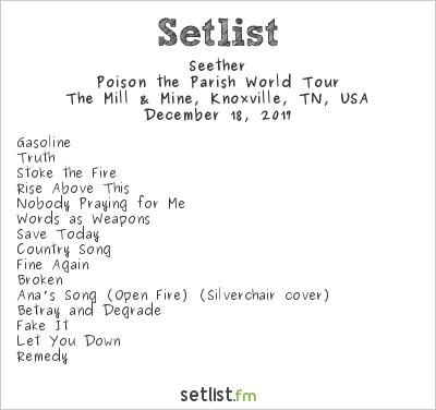 Seether Setlist The Mill & Mine, Knoxville, TN, USA 2017, Poison the Parish World Tour