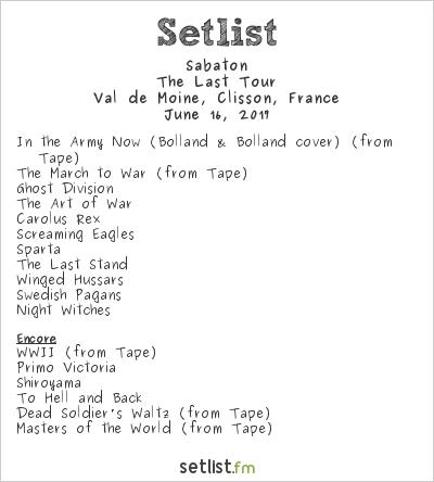 Sabaton Setlist Hellfest 2017 2017, The Last Tour