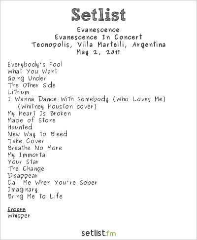 Evanescence Setlist Estadio del Bicentenario, Tecnópolis, Villa Martelli, Argentina, Evanescence In Concert 2017