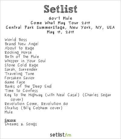 Gov't Mule Setlist Central Park SummerStage, New York, NY, USA, Come What May Tour 2017