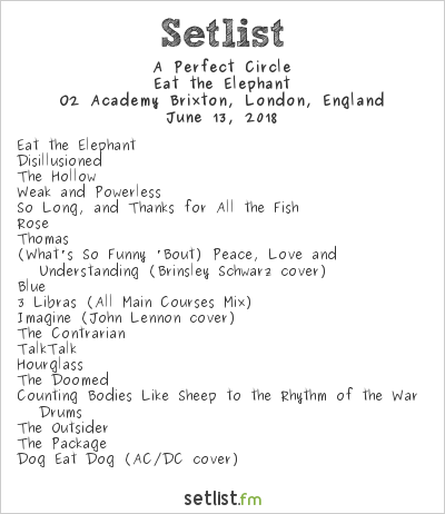 A Perfect Circle Setlist O2 Academy Brixton, London, England 2018, Eat the Elephant