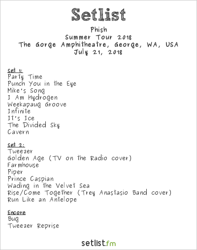 Phish Setlist The Gorge Amphitheatre, George, WA, USA, Summer Tour 2018