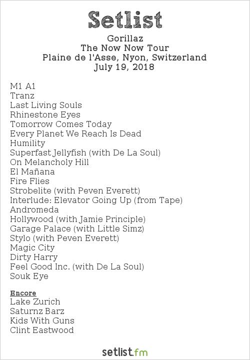 Gorillaz Setlist Paléo Festival 2018 2018, The Now Now Tour