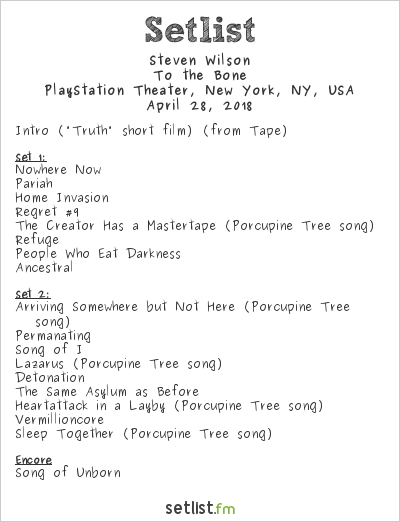 Steven Wilson Setlist PlayStation Theater, New York, NY, USA 2018, To the Bone