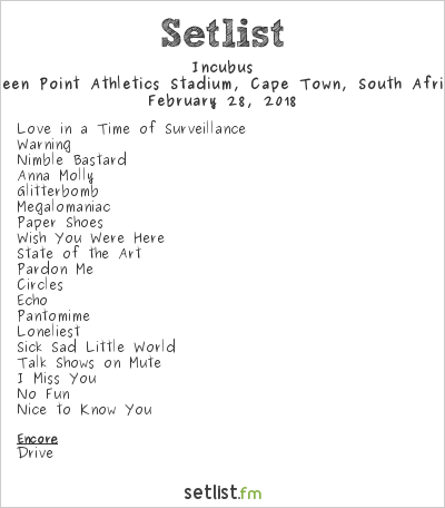 Incubus Setlist Green Point Stadium, Cape Town, South Africa 2018