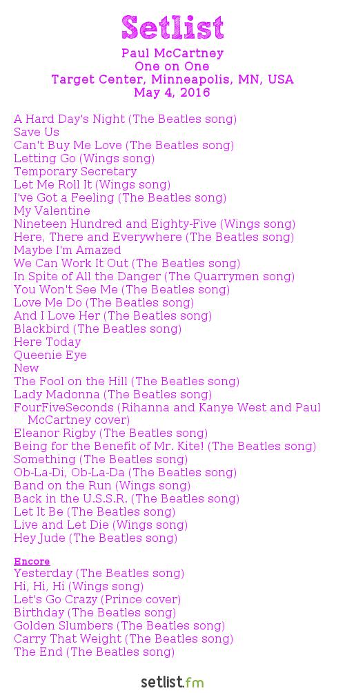 Paul McCartney Setlist Target Center, Minneapolis, MN, USA 2016, One on One