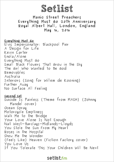 Manic Street Preachers Setlist Royal Albert Hall, London, England 2016, Everything Must Go 20th Anniversary