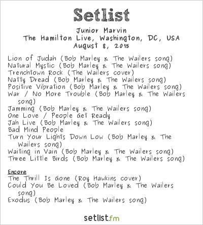 Junior Marvin Setlist The Hamilton Live, Washington, DC, USA 2015