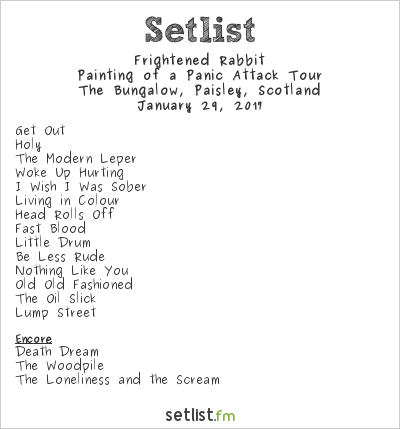 Frightened Rabbit Setlist Bungalow, Paisley, Scotland 2017, Painting of a Panic Attack Tour
