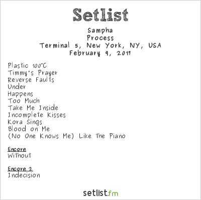 Sampha Setlist Terminal 5, New York, NY, USA 2017, The Process Tour