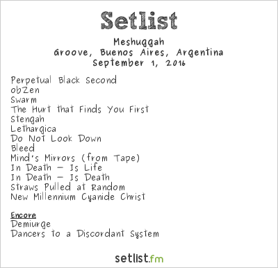 Meshuggah Setlist Groove, Buenos Aires, Argentina 2016