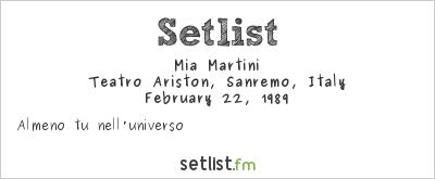 Mia Martini Setlist Festival della Canzone Italiana di Sanremo 1989 1989