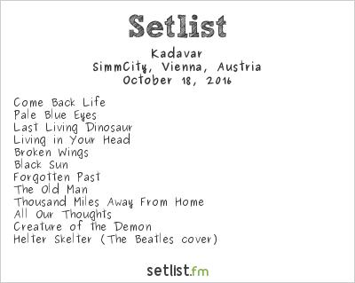 Kadavar Setlist SimmCity, Vienna, Austria 2016