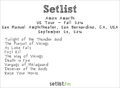 Amon Amarth Setlist Ozzfest Meets Knotfest 2016, US Tour - Fall 2016
