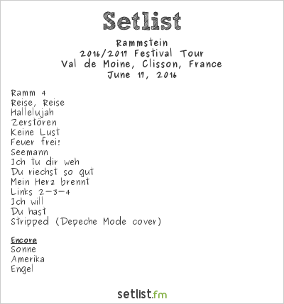 Rammstein Setlist Hellfest 2016 2016, 2016 Sommer Festival-Tour