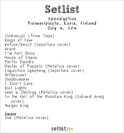 Apocalyptica Setlist Pioneerifestivaali 2016 2016