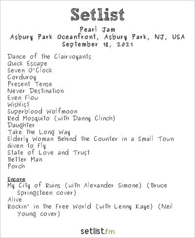 Pearl Jam Setlist Sea.Hear.Now Festival 2021 2021