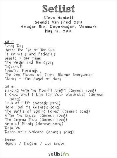 Steve Hackett Setlist Amager Bio, Copenhagen, Denmark, Genesis Revisited 2019