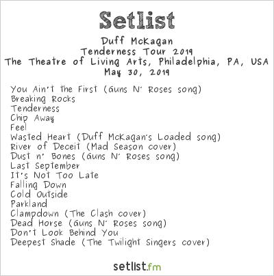 Duff McKagan Setlist The Theatre of Living Arts, Philadelphia, PA, USA, Tenderness Tour 2019