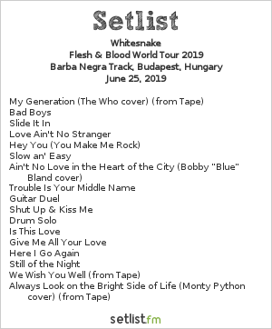 Whitesnake Setlist Barba Negra Track, Budapest, Hungary, Flesh & Blood World Tour 2019
