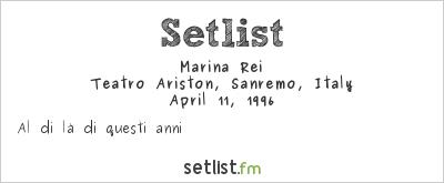 Marina Rei Setlist Sanremo Top 1996 1996