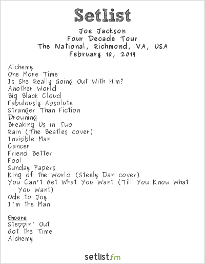 Joe Jackson Setlist The National, Richmond, VA, USA 2019, Four Decade Tour