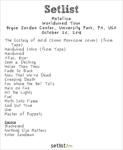 Metallica Setlist Bryce Jordan Center, University Park, PA, USA 2018, Worldwired Tour