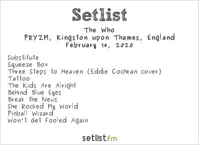 The Who Setlist PRYZM, Kingston upon Thames, England 2020