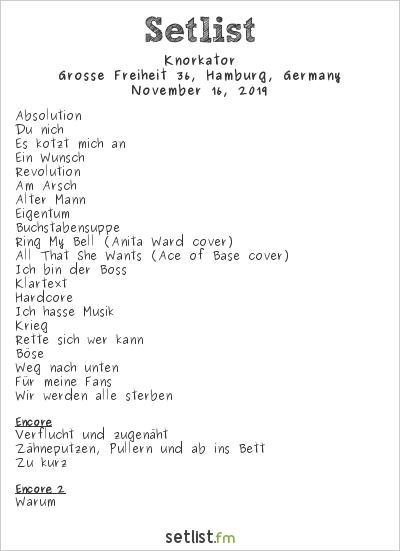 Knorkator Setlist Grosse Freiheit 36, Hamburg, Germany 2019