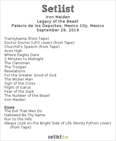 Iron Maiden Setlist Palacio de los Deportes, Mexico City, Mexico 2019, Legacy of the Beast