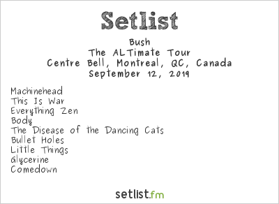 Bush Setlist Summersault 2019 Montreal 2019, The ALTimate Tour