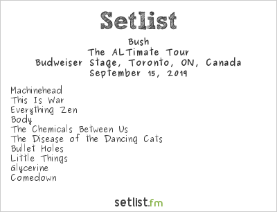 Bush Setlist Summersault 2019 Toronto 2019, The ALTimate Tour
