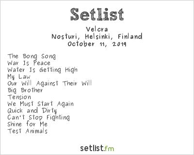 Velcra Setlist Nosturi, Helsinki, Finland 2019