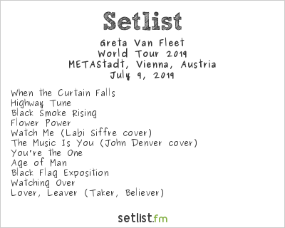 Greta Van Fleet Setlist METAStadt Open Air 2019, World Tour 2019