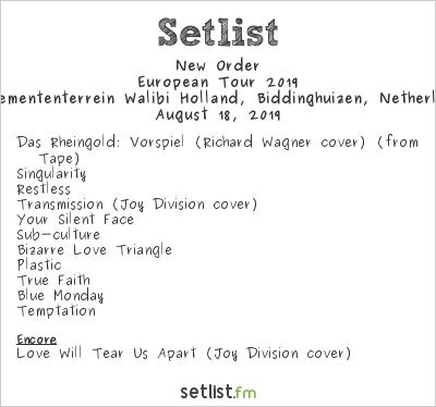 New Order Setlist Lowlands Festival 2019, European Tour 2019