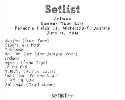 Anthrax Setlist Nova Rock 2014 2014
