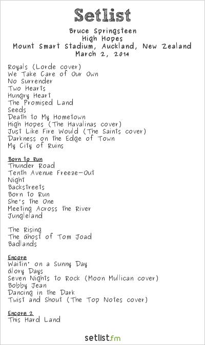 Bruce Springsteen Setlist Mount Smart Stadium, Auckland, New Zealand 2014, High Hopes Tour