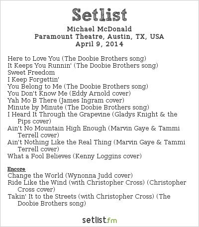 Michael McDonald Setlist Paramount Theatre, Austin, TX, USA 2014